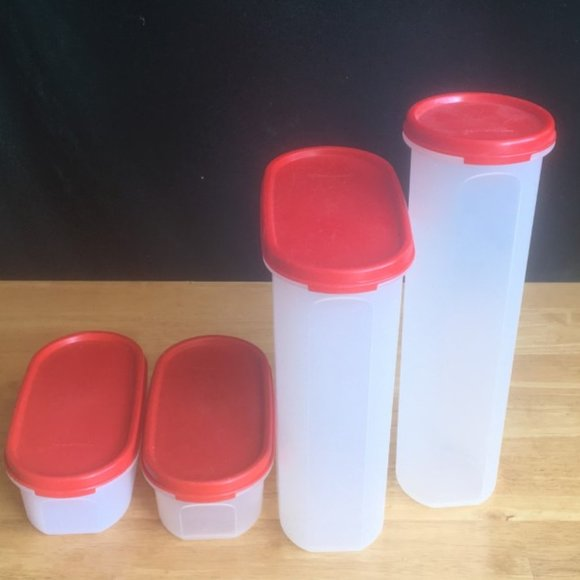 Tupperware set of 4 Modular Mates with Red tops